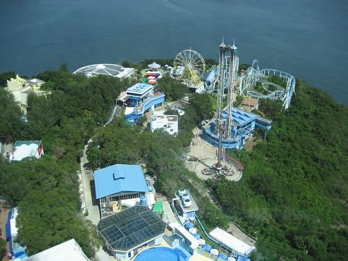 Vista aérea del Parque Oceánico de Hong Kong