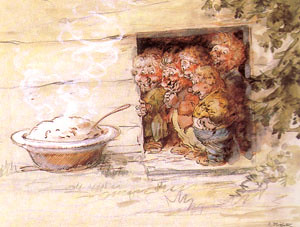 Robert Högfeldt, painting of trolls and some porridge