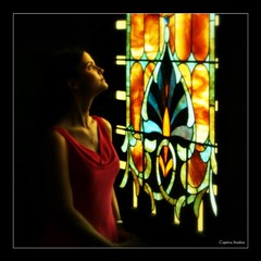 Heaven's Light (Little Laddie) Tags: portrait woman sunlight church client stainedglasswindow mywinner