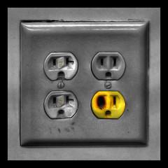 Ha, Ha...Black Eye! (The Secret Escape) Tags: photoshop cutout electrical outlet hdr blackeye 3xp photomatix tonemapped