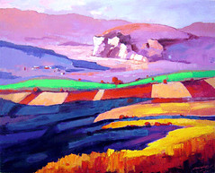 Landscape 2 by Myanmar artist Zaw Win Pe, oil on canvas, 153x180cm