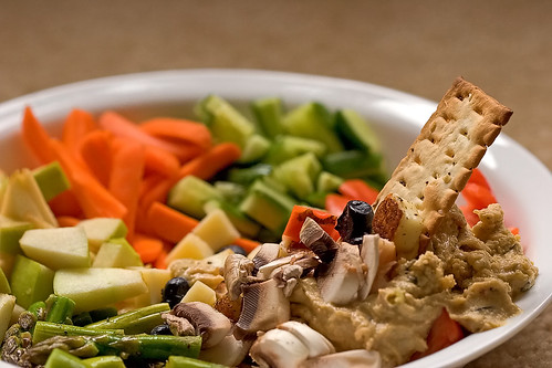 Vegetable salad with hummus for dipping
