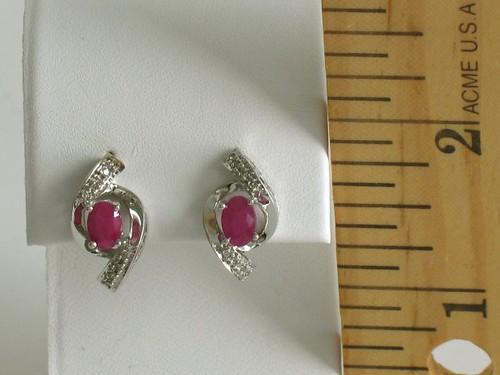 14K W.G. Ruby and Diamond Earrings