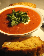 Chilli bean soup with cornbread