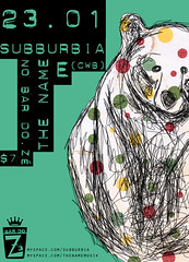 subburbia e the name @ bar do z (estelle f) Tags: show bear music verde illustration cat cores poster sopaulo gig band rosa gato indie srie campinas cartaz urso independente subburbia thename