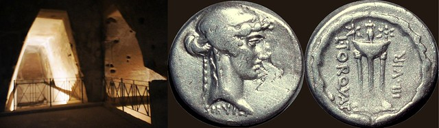 58BC 411/1 coin of Torquatus showing a Tripod and the ageless Sibyl, priestess of Apollonian oracle, and the inner cave of the Sibyl at Cumae