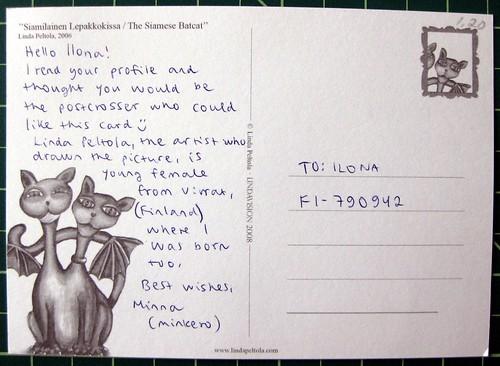 "Linda Peltola's ""Siamese Batcat"" postcard"