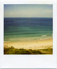 . (Rebecca...) Tags: uk sea film beach lines polaroid cornwall surf september polaroidsx70sonar gwenvor 600filmwithblendfilter