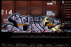 #1-Graffiti-on-Trains (rob_valine) Tags: graffiti trains railroadcars fujivelvia contaxg2 zeiss45mmf2glens