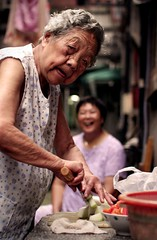 happy neighbors. (theshanghaieye) Tags: china old morning portrait urban cooking look laughing early interestingness asia shanghai cook explore laundry elderly portraiture laugh chopping chop conversation   pause shanghaiist washbasin frenchconcession seniorcitizen longtang wintermelon nongtang  middlekingdom