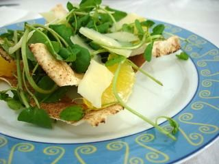 Watercress and parmesan flatbread salad
