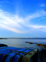 the beach view (aloalo*) Tags: ocean blue sea summer sky nature water japan clouds boat kanagawa yokosuka kannonzaki aplusphoto yokosukamuseumofart