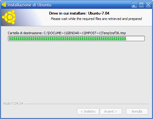Fig. 3 - Installare Linux da Windows - preparazione all'installazione