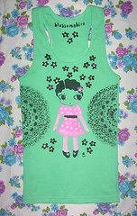 dolly tee (blossomnbird) Tags: print fun stencil doll designer indie etsy dollface madeit indiepublic ilovecreatingcustomorders