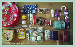 What's in my bag? (h i u . y u) Tags: leica japan ipod muji swimmer whatsinmybag shuuemura iphone cathkidston shisedo majolicamajorca fueki
