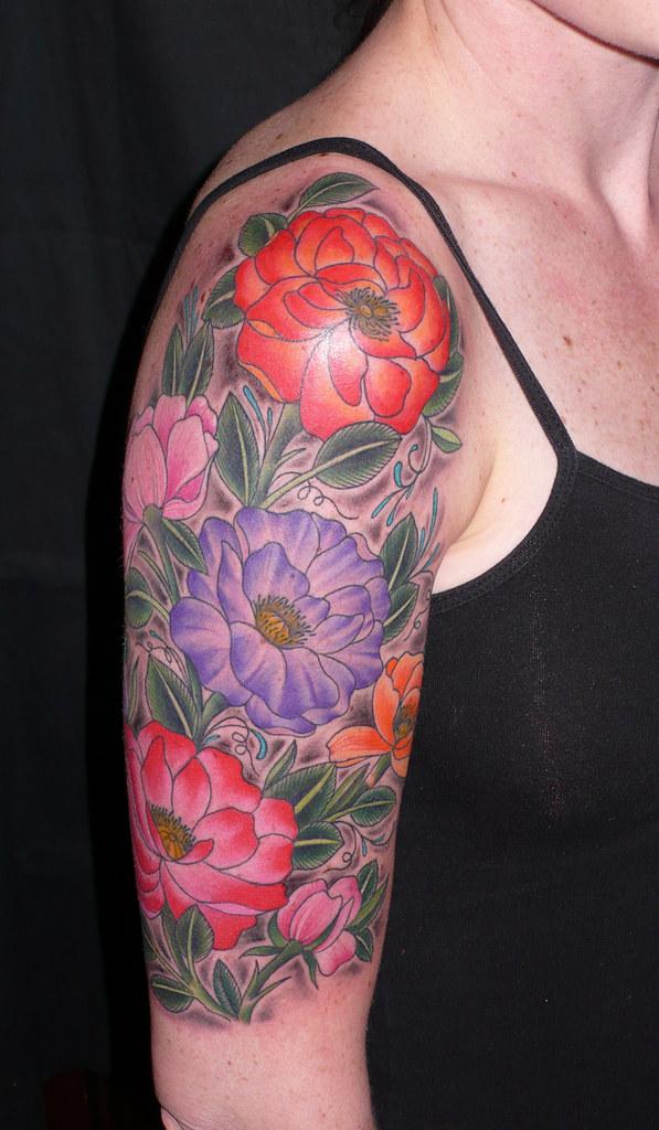 sleeve tattoos floral - photo #39