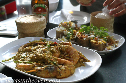 Kung Phat Phong Kari - giant sea prawns with curry and egg