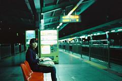 Waiting (a l e x . k) Tags: portrait film girl night subway nikon platform korea seoul fm2