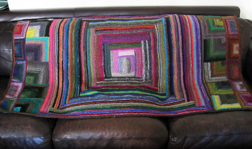 Therapeutic Magic Ball Log Cabin/Miter Noro Afghan