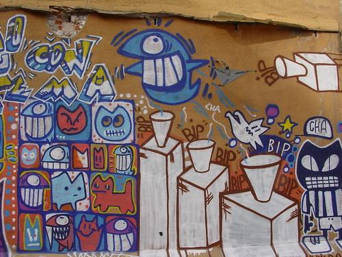 Este pez es ya un clásico, aparece en muchos graffitis de Barcelona y cercanías
