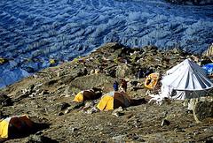 Mighty Yalung glacier, Kanchenjunga (sanjayausta) Tags: nepal camp india snow reflection nature landscape tents mt prayer flags tibet trekkers snowcapped hut glaciers summit pastoral everest base himalayas nomads moraine sherpas tibetian beauti mountaineers kanchenjunga clibing ramche clib