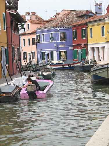Man in Pink Boat