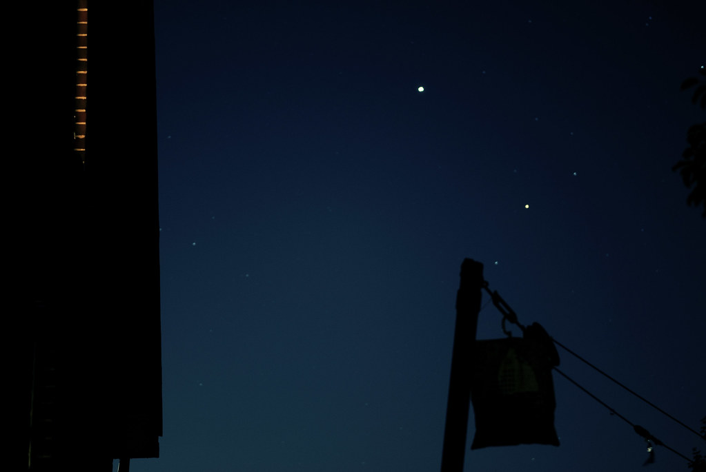 Jupiter and Antares in moon glow