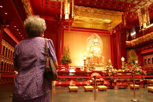 Inside the flashing new temple in Chinatown, Singapore.