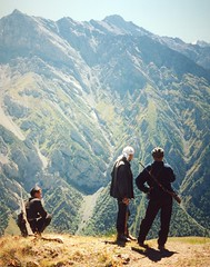 Alai, herdsmen and guide (mm-j) Tags: mountain snow film haze altitude rifle scan contax hunter t2 alai kyrgyzrepublic scanfromprints