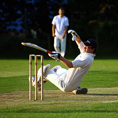 Cricket versus Breakdancing... (ElWanderer) Tags: uk england game green grass sport ball woking action bat surrey player cricket falling explore panic squareformat stump match pitch whites crease stumps bails batter fallingover wicket batsman cricketmatch cricketbat queenelizabethway allsports top20peoplephotos explored i500 interestingness289 inexplore cricketplayer cricketsport sigma70300mmf456apodgmacro fidessavtouchpaper oldwokingcricketclub oldwokingcc fidtouch fidtouchtrophy explore20070908