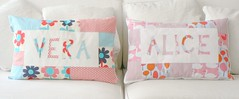 Custom name pillows (b*lota) Tags: pink flowers blue trees red baby house japanese day stripes nursery ducks coton pillow letter etsy dots patchwork decor lizzy blota kokka