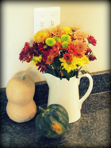 Fall Flowers, Pitcher, and Squash