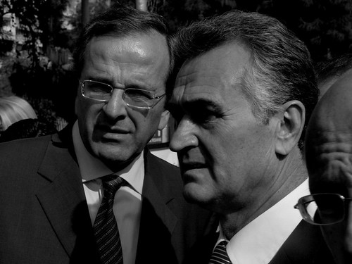 Leader of the main Greek opposition party (left) Antonis Samaras - Thessaloniki