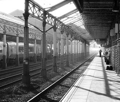 Crewe Cheshire 11th October 2010 (loose_grip_99) Tags: uk railroad england station architecture blackwhite shadows cheshire noiretblanc victorian rail railway crewe ironwork trainshed 2010 lms britishrailways trackscape