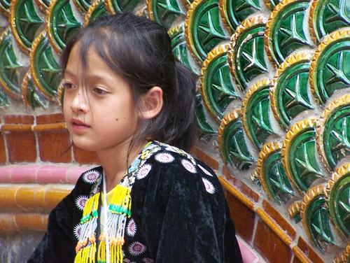 Girl at Doi Suthep Temple Steps