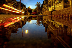 somerville puddle just after sunset (sandcastlematt) Tags: street reflection night puddle dusk massachusetts somerville bostonist lightstream longishexposure universalhub shallowpuddle