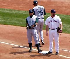 Iwamura on first (ConfessionalPoet) Tags: baseball redsox devilrays firstbase thirdbase kevinyoukilis akinoriiwamura