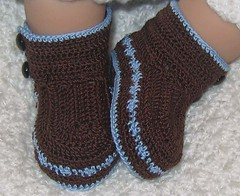 High Tops - Brown/Med. Blue (WendysKnitch) Tags: boy baby thread hat vintage crochet gift heirloom custom booties weetoesandnoggins