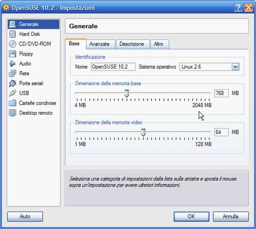 Fig. 2 - VirtualBox 1.5 - Finestra impostazioni macchina virtuale