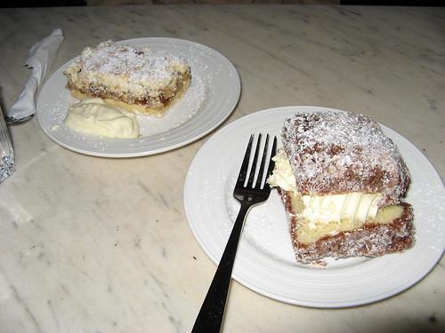 Apple slice and Lamington