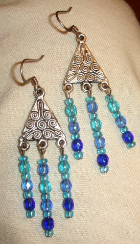 BlueChandlierEarrings