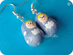 It's a Cloudy Day Matryoshka Earrings, fimo polymer clay (*Merylu*  PetiteFraise) Tags: sky cloud cute weather cake handicraft doll day nuvola handmade craft jewelry bijoux jewellery fimo clay pearl earrings russian azzurro babushka lightblue matryoshka polymer orecchini petitefraise merylu