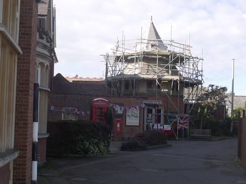 Bletchley Park Post Office - red post box and red phone box - scaffolding