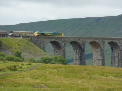 Another train heading off over the viaduct