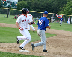 out at first (Boston Wolverine) Tags: motion blur college out baseball capecod massachusetts run wakeforest summerleague firstbase chathamas ydredsox capeleague firstbaseman infielder uncertainid yarmouthdennis allandykstra