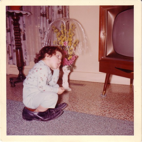 I used to sit in my dad's shoes to watch TV