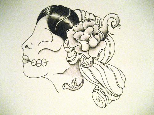 sugar skull tattoo girl