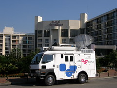 Fukushima TV relay van in front of hotel #9544