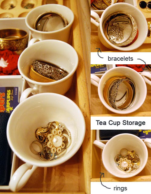 Jewelery Storage Tea Cups