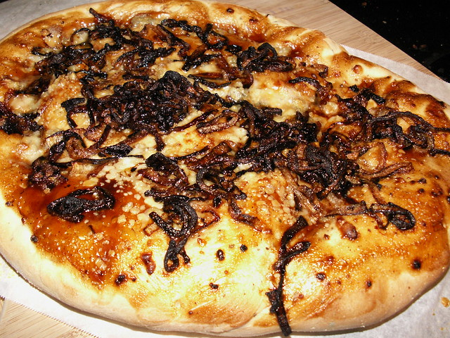 Carmelized Onion, Blue Cheese, and BBQ Pizza